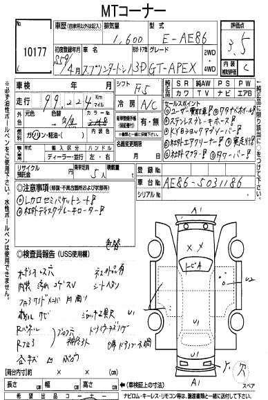 Panda auction sheet grade 3.5 - JDM CARS